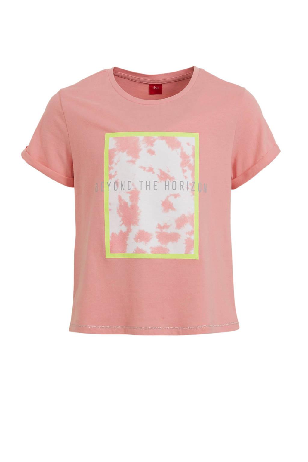 s.Oliver T-shirt met printopdruk lichtroze/lichtgeel/wit, Lichtroze/lichtgeel/wit