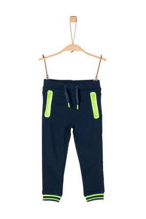 joggingbroek donkerblauw/neon geel