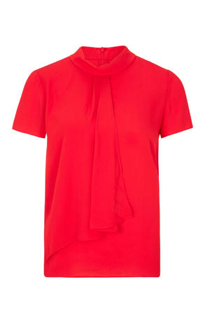top met all over print en plooien rood