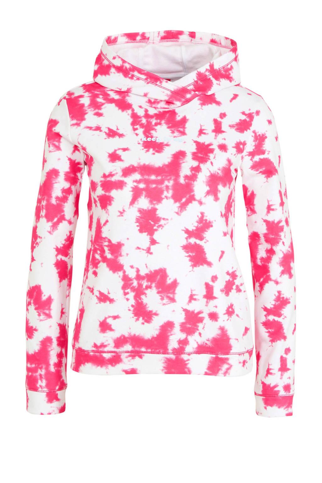 s.Oliver hoodie met all over print en overslag detail wit/roze, Wit/roze