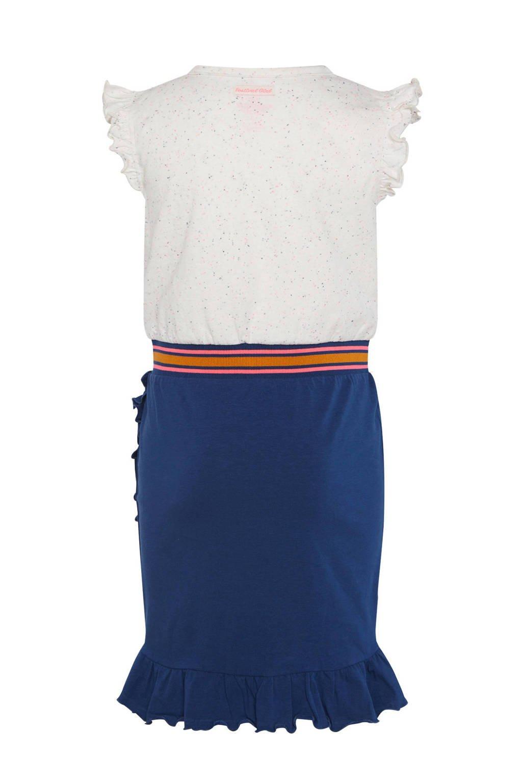 WE Fashion jersey jurk met ruches blauw/ecru/roze, Blauw/ecru/roze