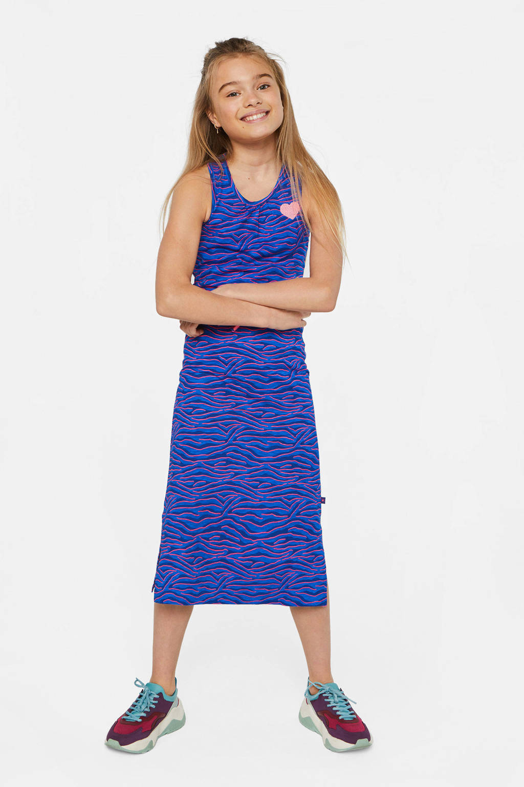 WE Fashion halter maxi jurk met zebraprint en pailletten blauw/roze, Blauw/roze