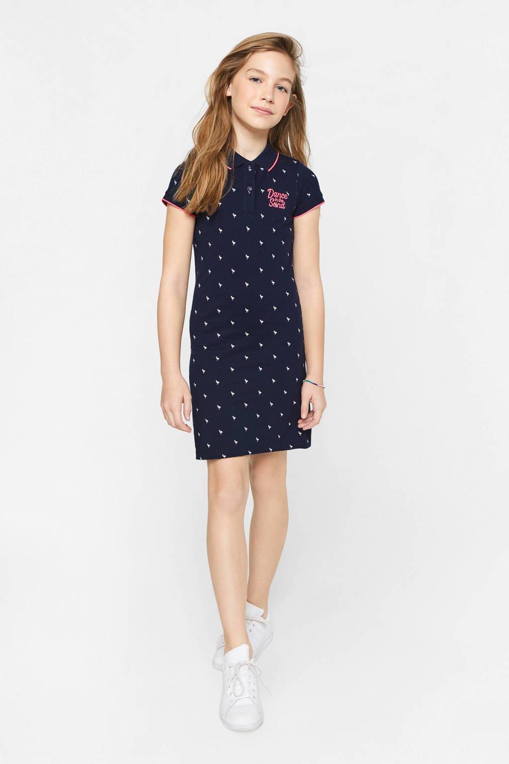 WE Fashion jersey jurk met all over print en borduursels donkerblauw, Donkerblauw