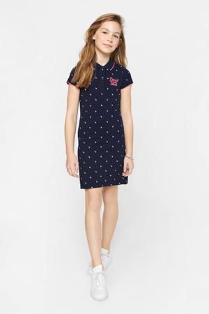 jersey jurk met all over print en borduursels donkerblauw