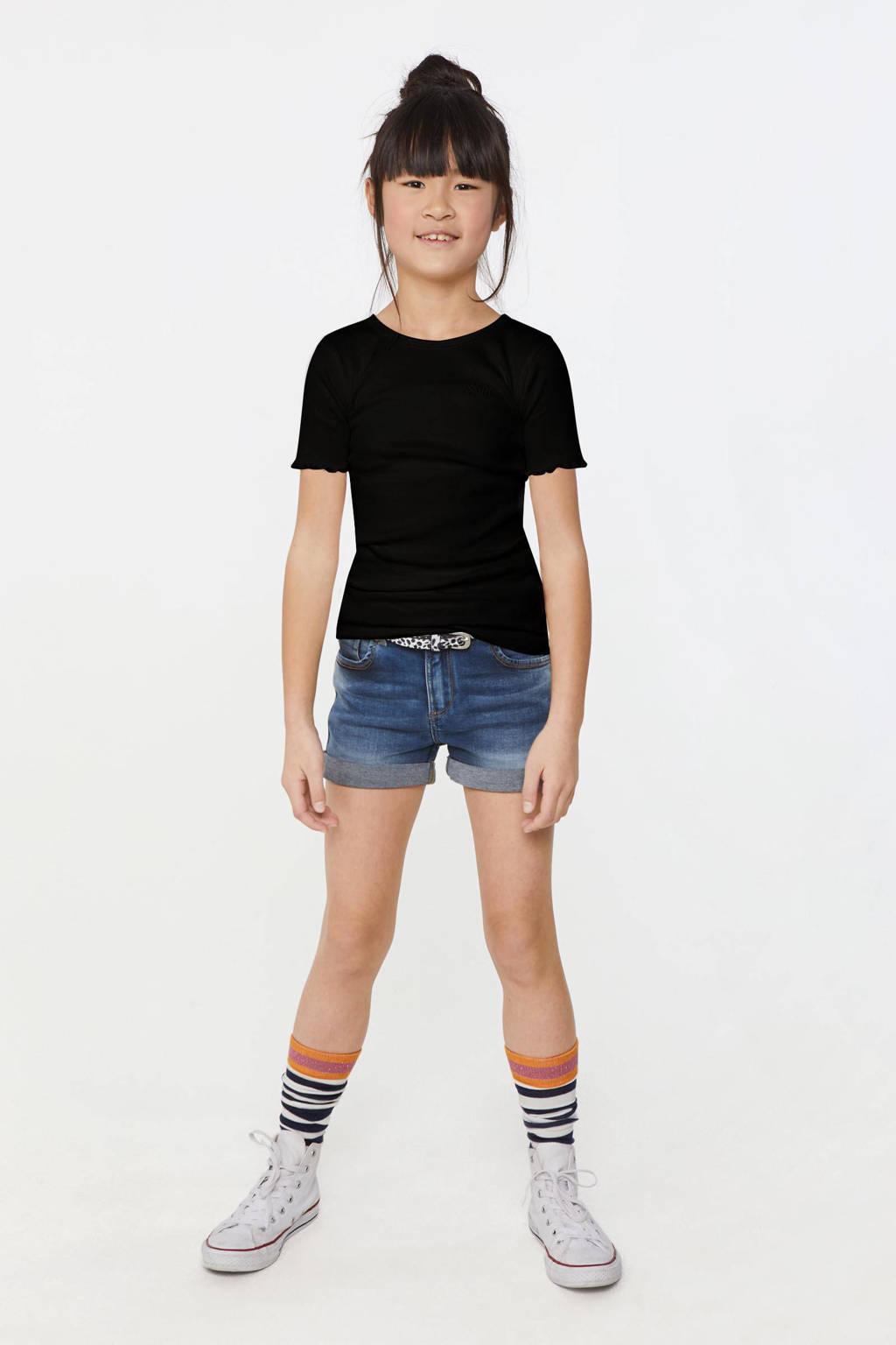 WE Fashion slim fit T-shirt zwart, Zwart