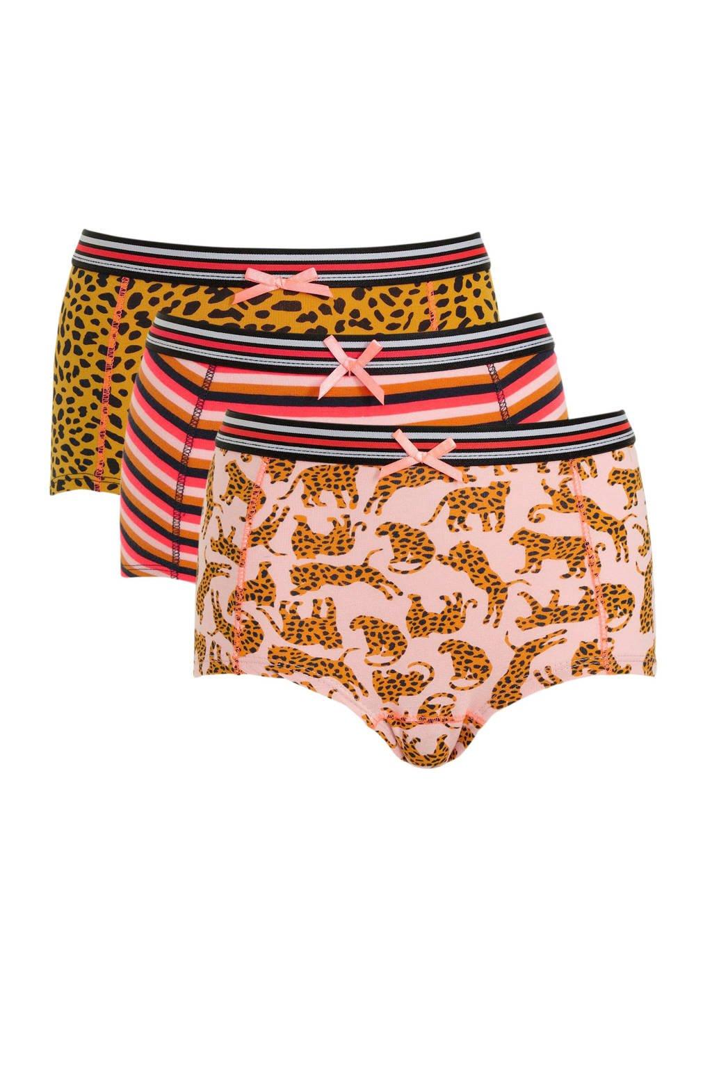 WE Fashion Fundamental hipster - set van 3 roze/bruin/rood, Roze/bruin/rood
