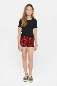 WE Fashion regular fit sweatshort met panterprint rood, Rood