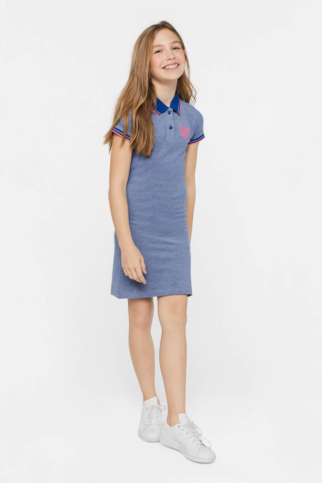 WE Fashion jersey jurk en borduursels blauw, Blauw