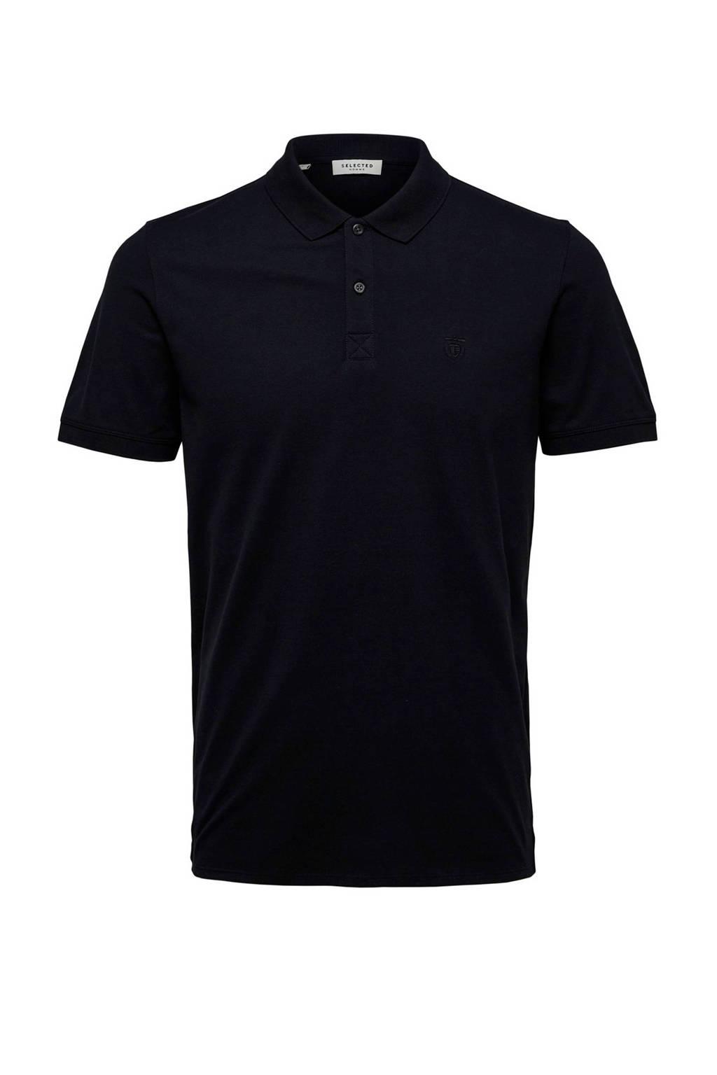 Selected Homme +Fit regular fit polo zwart, Zwart