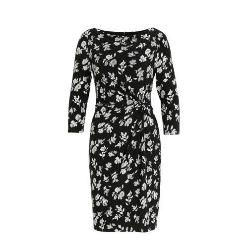 Lauren Ralph Lauren gebloemde jurk Trava zwart/ecr