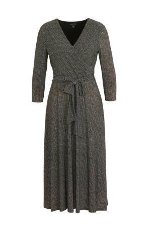 jurk Carlyna met all over print en ceintuur champage/zwart