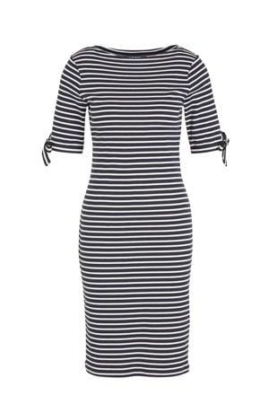 gestreepte jersey jurk Brandeis donkerblauw/wit