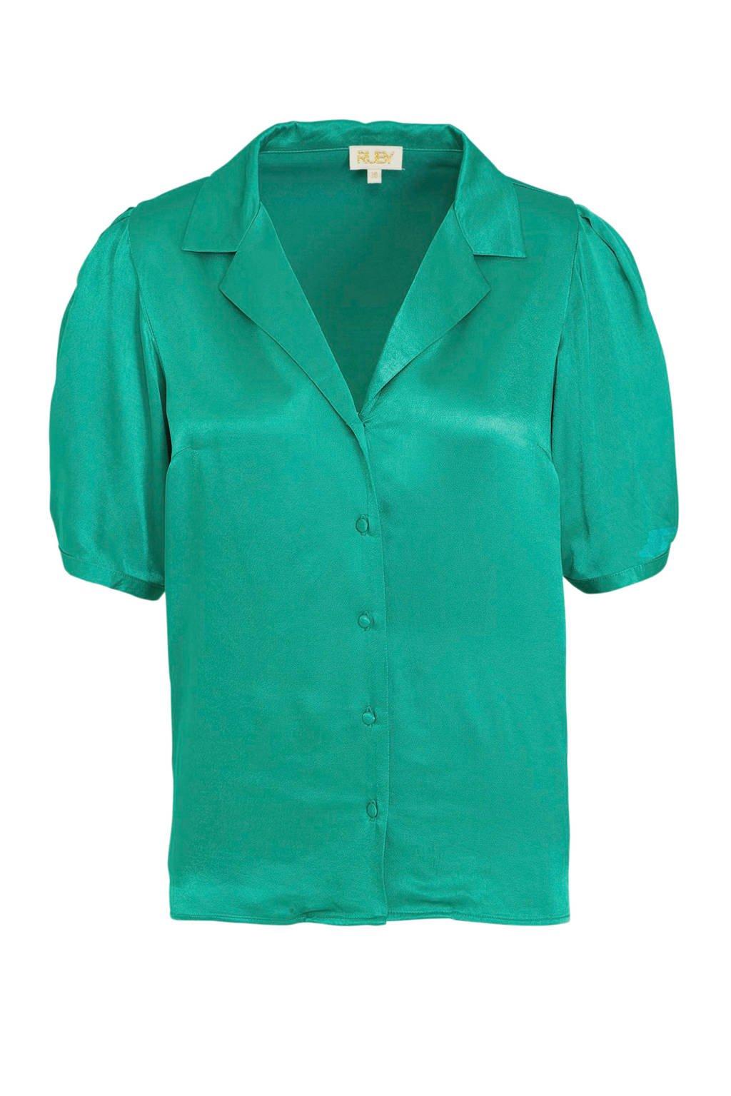 Ruby satijnen blouse groen, Groen