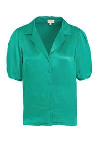 satijnen blouse groen, Groen