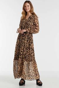 gevoerde maxi-jurk met pofmouwen en een panterprint, Camel/zwart