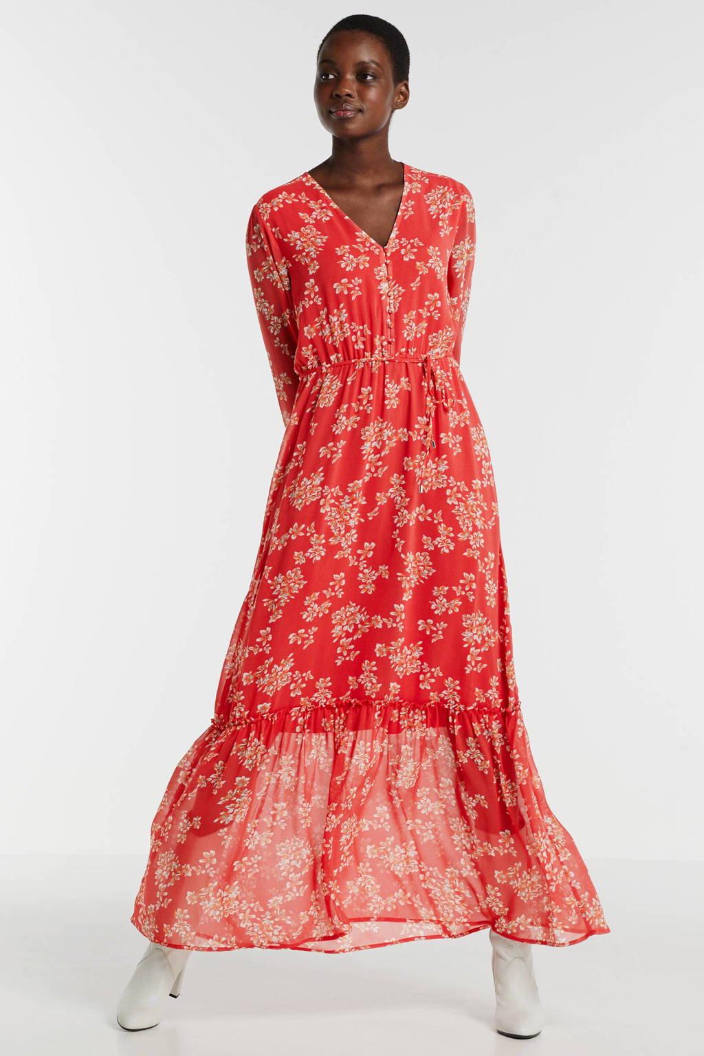 Ruby gevoerde maxi-jurk met pofmouwen en een bloemenprint, Koraalrood/ecru