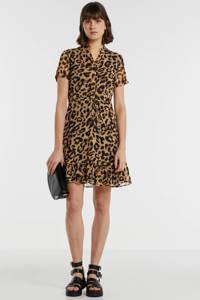 gevoerde jurk met panterprint camel/zwart, Camel/zwart
