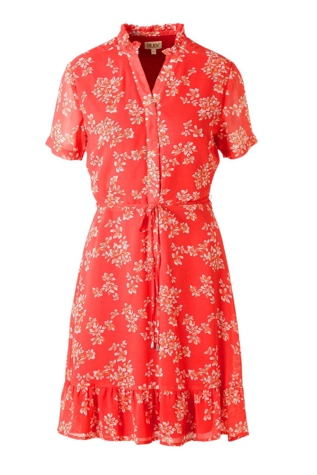 gevoerde jurk met bloemenprint koraalrood, Koraalrood/ecru