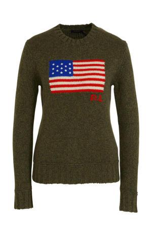 gebreide trui met wol en logo olijfgroen