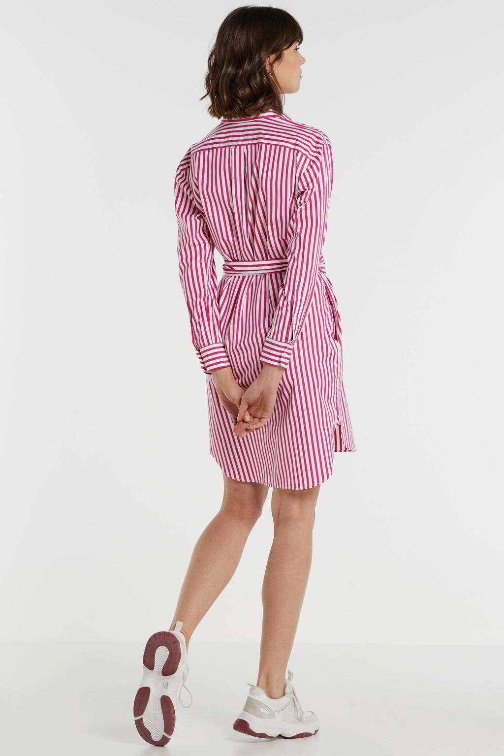POLO Ralph Lauren gestreepte blousejurk roze/wit, Roze/wit