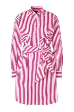 gestreepte blousejurk roze/wit
