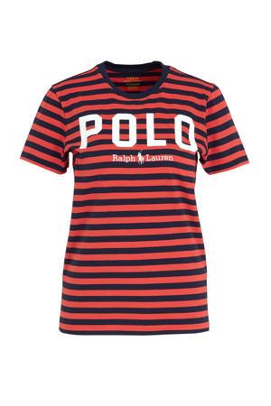 gestreept T-shirt rood/zwart