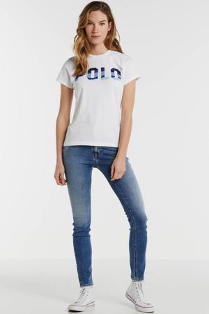 T-shirt met logo en 3D applicatie wit/blauw