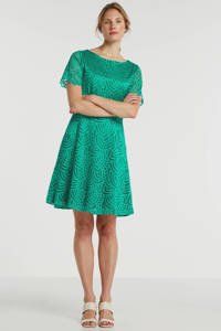 gevoerde kanten A-lijn jurk groen, Groen