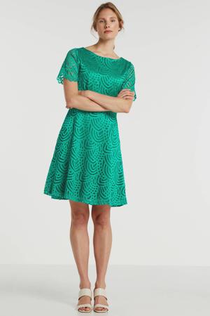 gevoerde kanten A-lijn jurk groen