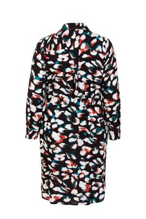 Plus gebloemde blousejurk zwart/wit/rood