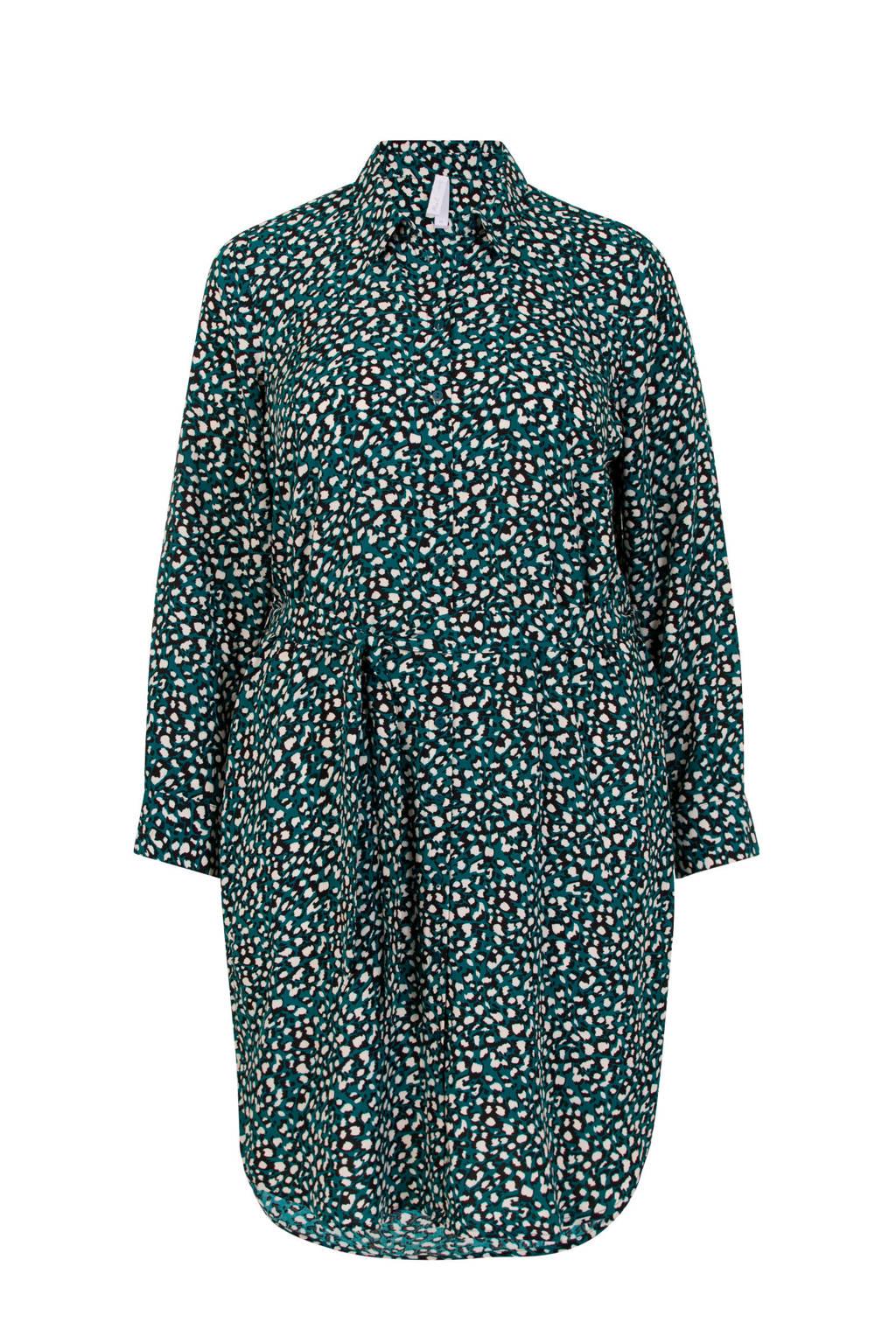 Miss Etam Plus blousejurk met panterprint en ceintuur groen/beige/zwart
