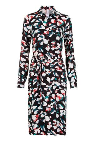 Lang blousejurk met all over print en ceintuur /groen/wit