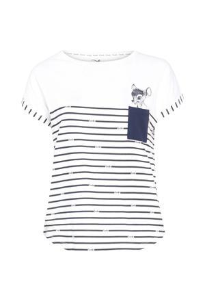 pyjamatop met strepen wit/zwart