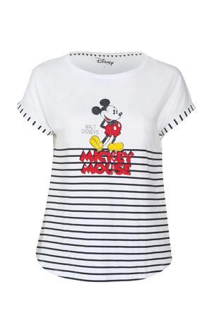 pyjamatop Mickey met strepen wit/zwart