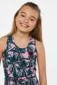 WE Fashion jersey jurk met all over print en pailletten roze/blauw, Roze/blauw