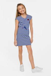 WE Fashion gestreepte jersey jurk blauw/wit, Blauw/wit