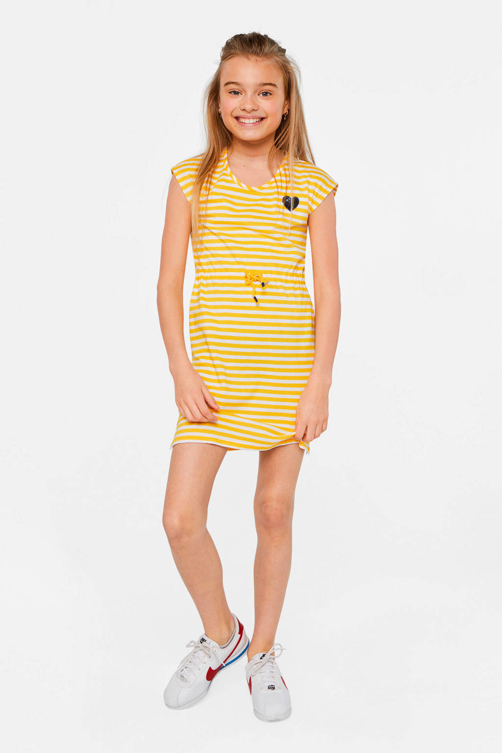 WE Fashion gestreepte jersey jurk geel/wit, Geel/wit