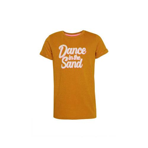 WE Fashion T-shirt met tekst en glitters oker