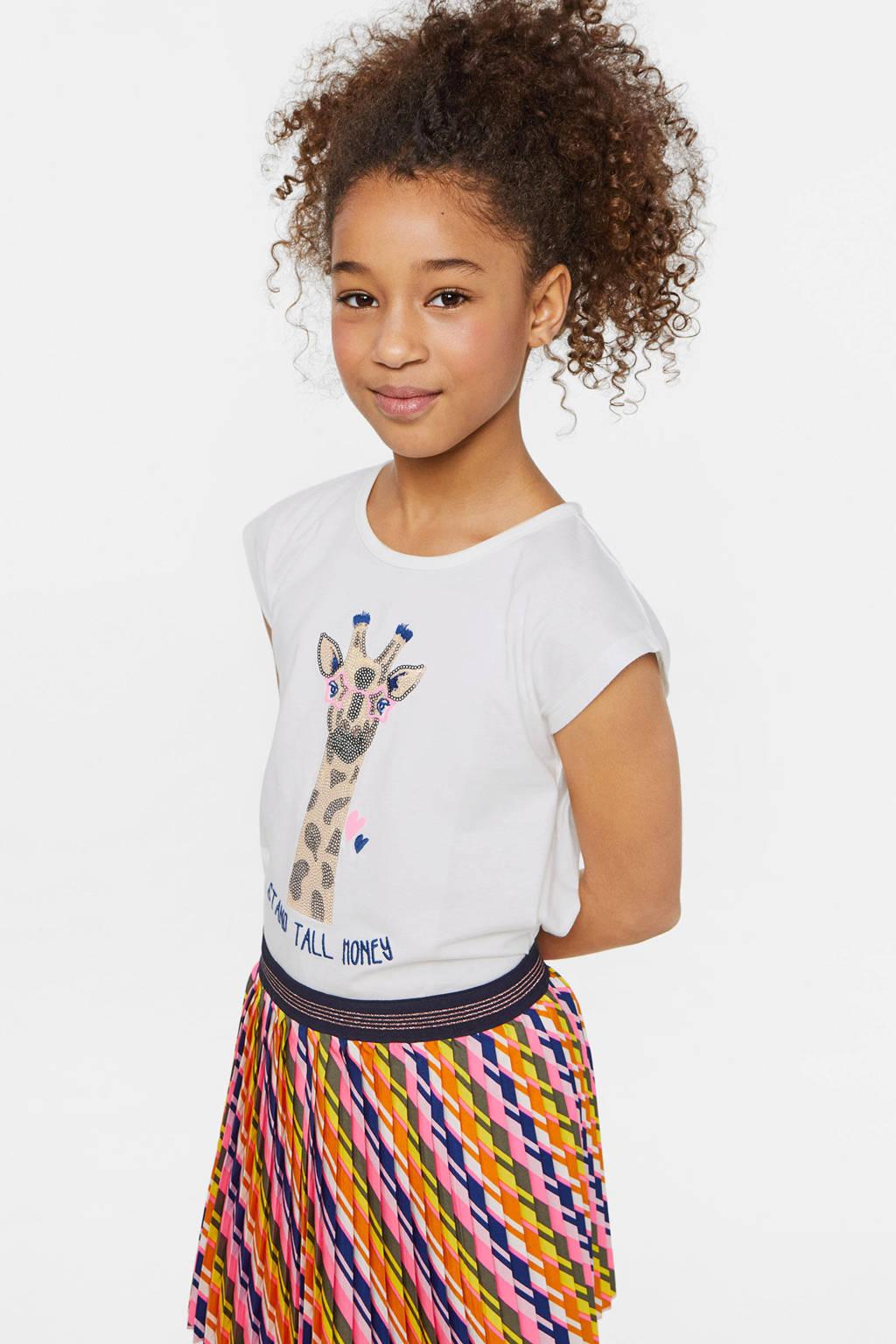 WE Fashion T-shirt met tekst en pailletten wit, Wit