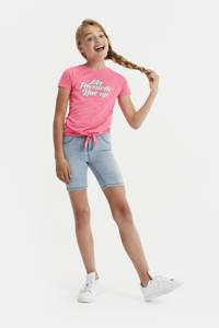 WE Fashion gemêleerd T-shirt met tekst roze, Roze