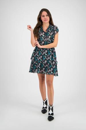 jurk Pinny met all over print en ruches zwart/multi