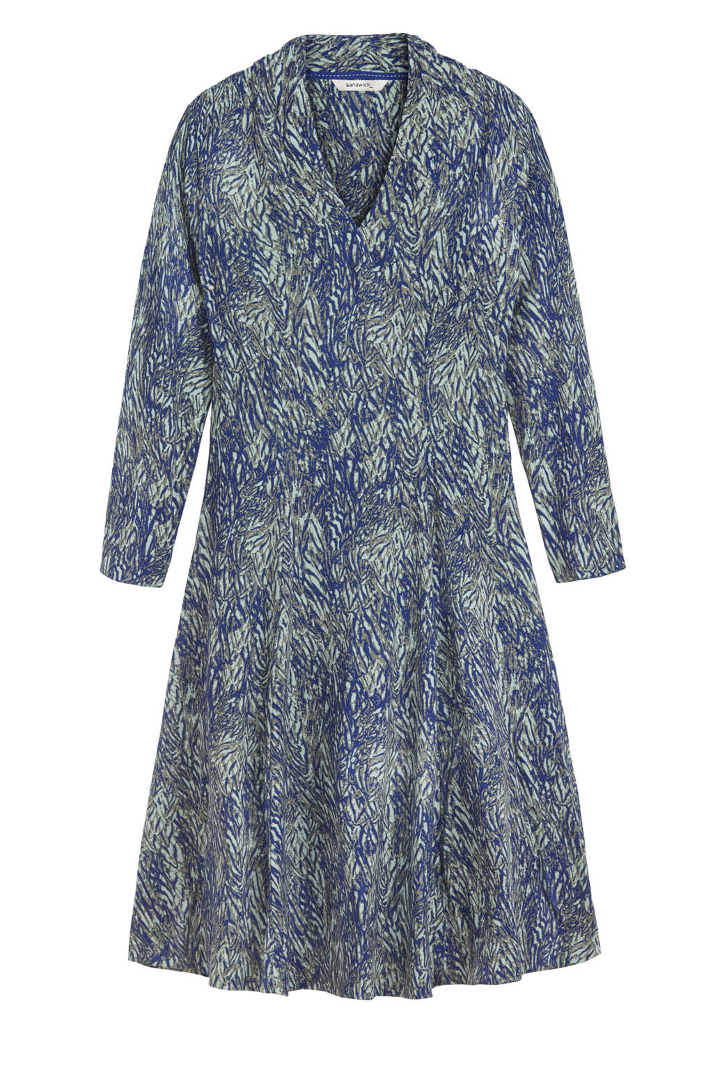 Sandwich A-lijn jurk met all over print blauw/multi, Blauw/multi