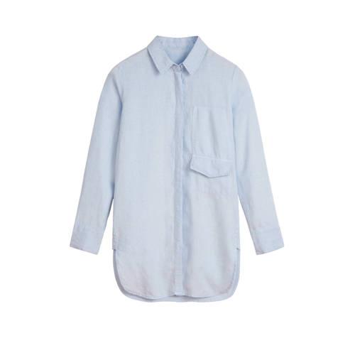 Sandwich linnen blouse lichtblauw