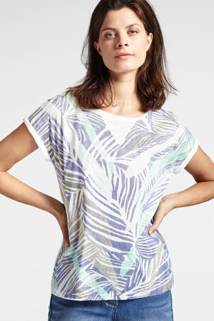 T-shirt met bladprint blauw