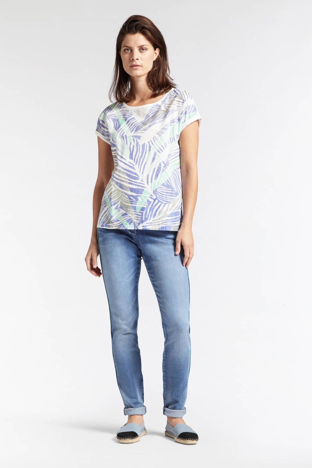 Sandwich T-shirt met bladprint blauw, Blauw