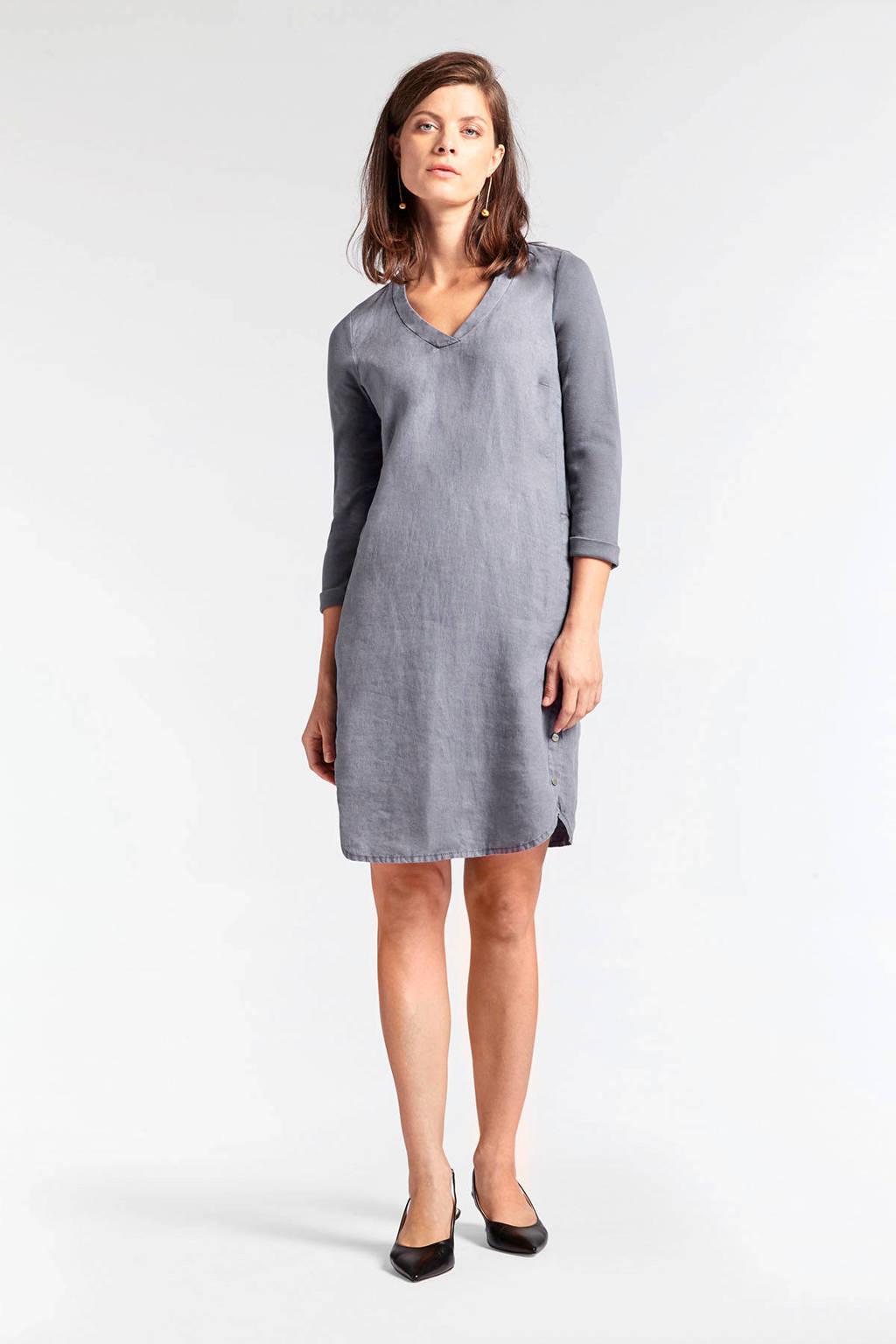 Sandwich linnen A-lijn jurk grijsblauw, Grijsblauw