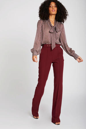 high waist flared broek bordeaux
