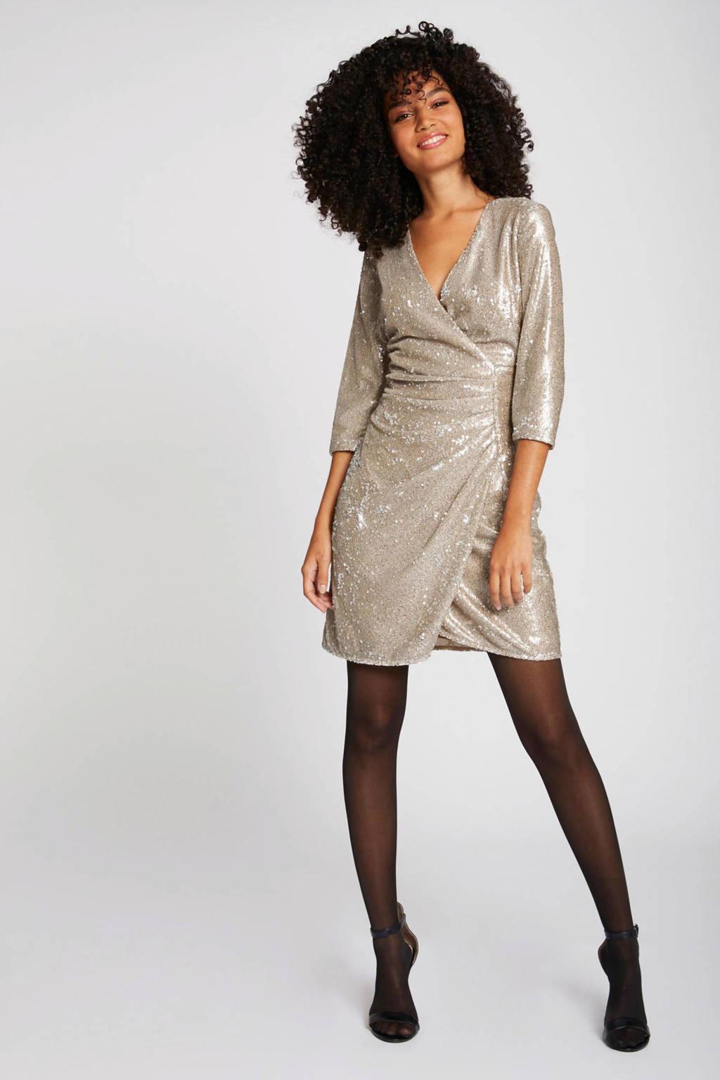 Morgan jurk met pailletten beige, Beige