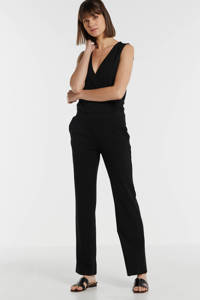 anytime jumpsuit met overslag detail zwart, Zwart