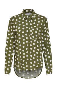 JACQUELINE DE YONG blouse met stippen groen/wit, Groen/wit